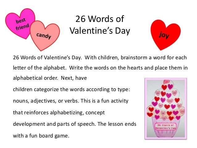 26 Words Of Valentineu0027s Day 26 Words Of Valentineu0027s Day. With Children,  Brainstorm A ...