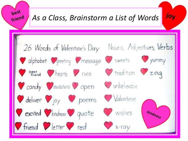 As A Class, Brainstorm A List Of Words ...