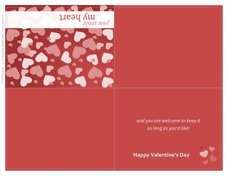 valentines day card quarter fold 1 print this page 2 cut along the dotted lines 3 fold