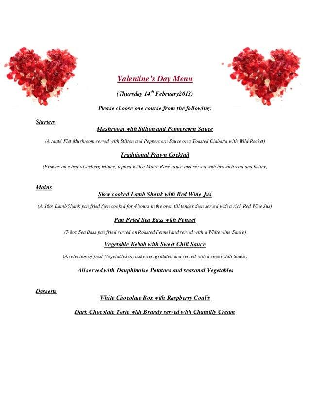 Valentine S Day Menu Thursday 14th February 2013