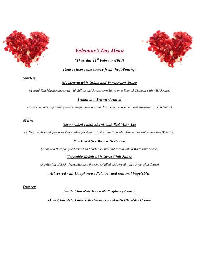 Valentineu0027s Day Menu (Thursday ...