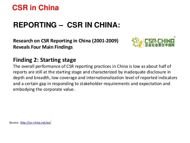 recent csr development in china China has learned that csr, in the current economic and political landscape, will help the country to become a leader, not a follower author: meng liu is china representative for the united nations global compact and a member of the 2015 intake of world economic forum young global leaders.
