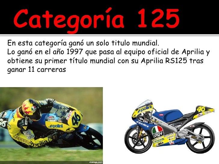 Categoría 125<br />En esta categoría ganó un solo titulo mundial.<br />Lo ganó en el año 1997 que pasa al equipo oficial d...