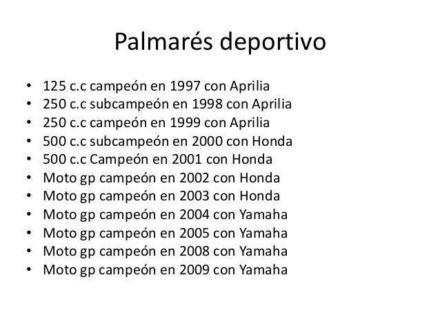 Palmarés deportivo•   125 c.c campeón en 1997 con Aprilia•   250 c.c subcampeón en 1998 con Aprilia•   250 c.c campeón en ...