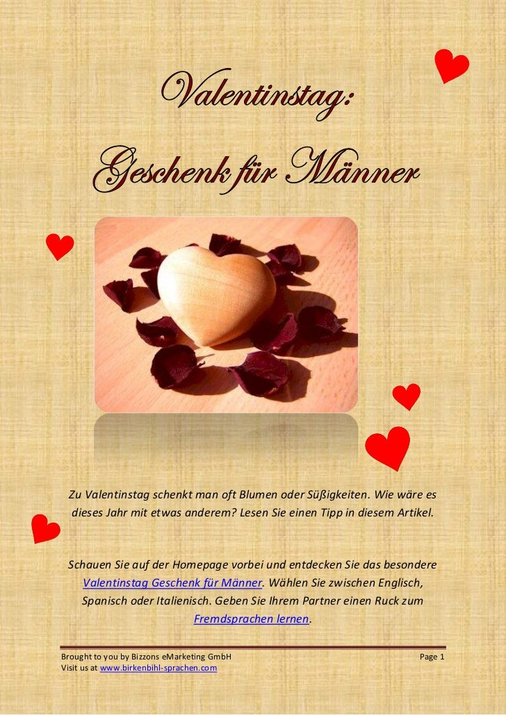 Geschenke fur manner zu valentinstag