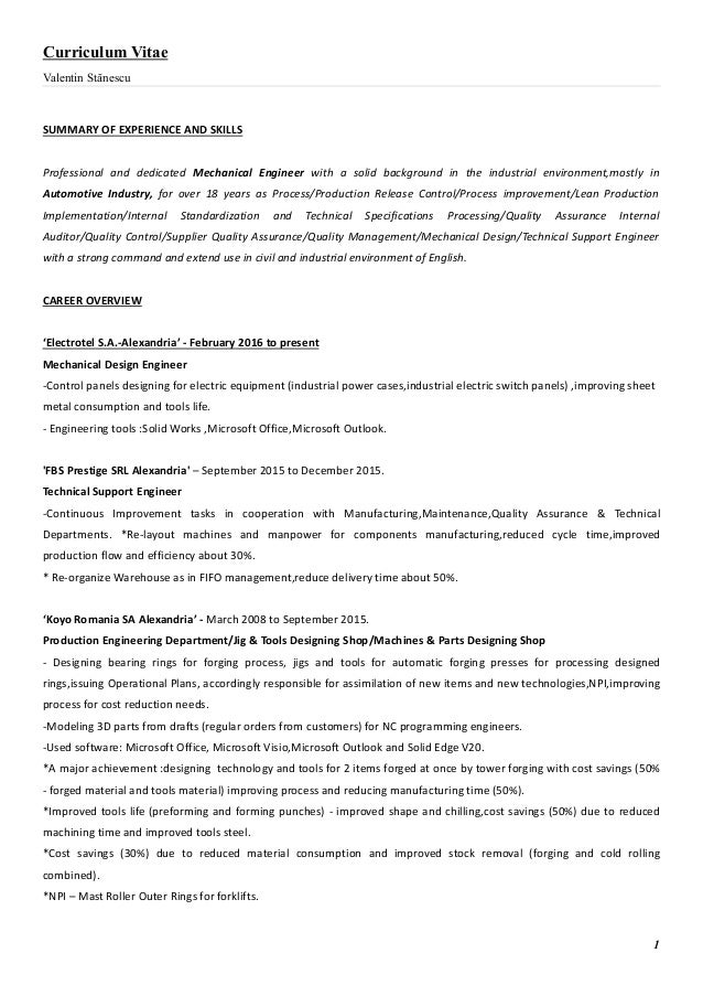 Valentin StanescuMechanical Engineer Resume