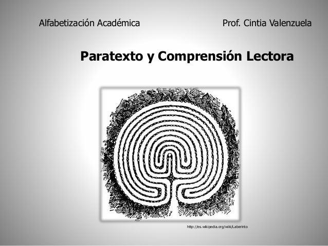 Alfabetización Académica Prof. Cintia Valenzuela  Paratexto y Comprensión Lectora  http://es.wikipedia.org/wiki/Laberinto