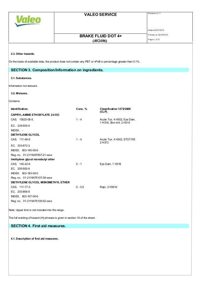 Dot 5 1 Brake Fluid >> Valeo Braking Systems Brake Fluid DOT 4+ material safety data sheet 4…