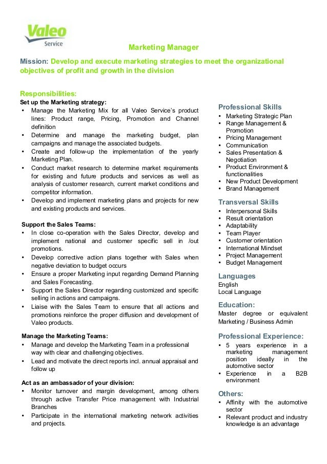 Valeo Service Marketing Manager Job Description