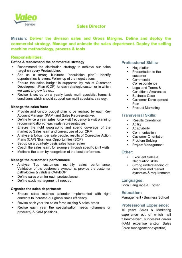 Valeo Service Sales Director Job Description