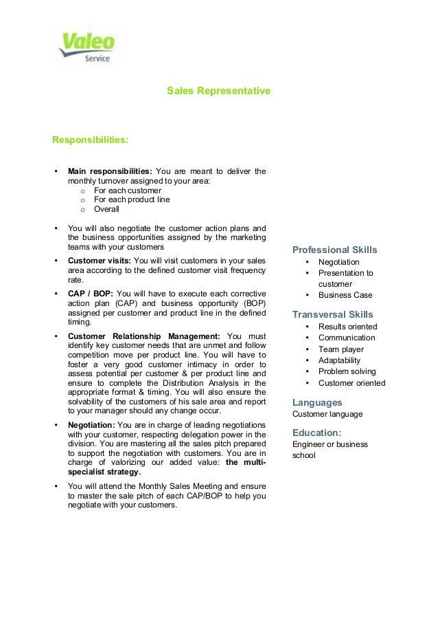 Lovely Attractive Valeo Service Sales Representative Job Description. Sales  Representative Responsibilities: U2022 Main Responsibilities: