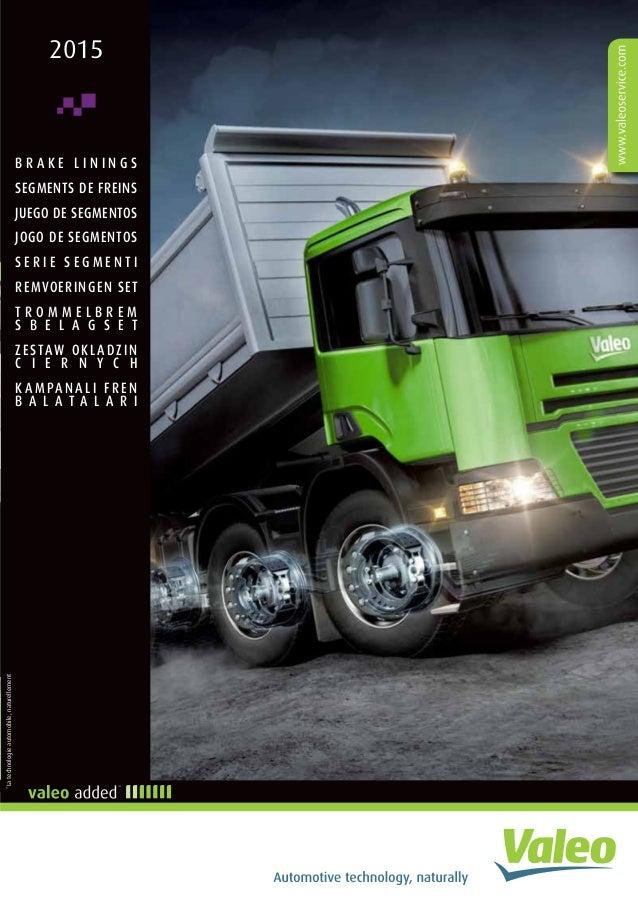Valeo Truck & Trailer Braking Systems Brake Lining 2015 catalogue 958…