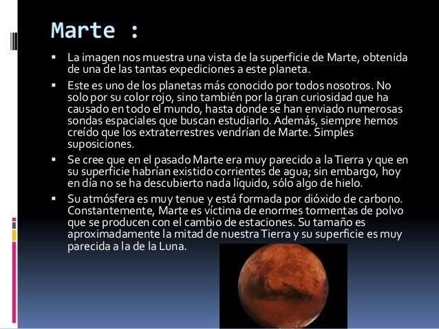 Marte : La imagen nos muestra una vista de la superficie de Marte, obtenida  de una de las tantas expediciones a este pla...