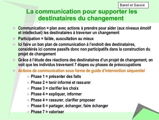 La communication pour supporter les  destinataires du changement  u Communication = plan avec actions à prendre pour aide...