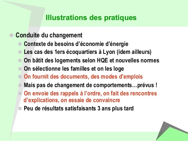 Illustrations des pratiques  u Conduite du changement  n Contexte de besoins d'économie d'énergie  n Les cas des 1ers é...