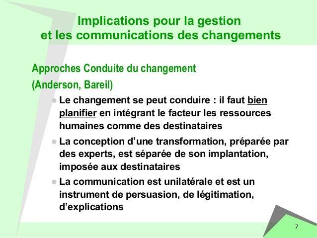 7  Implications pour la gestion  et les communications des changements  Approches Conduite du changement  (Anderson, Barei...