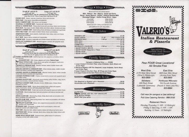 valerios pizza italian restaurant pizzeria catering in erie pa