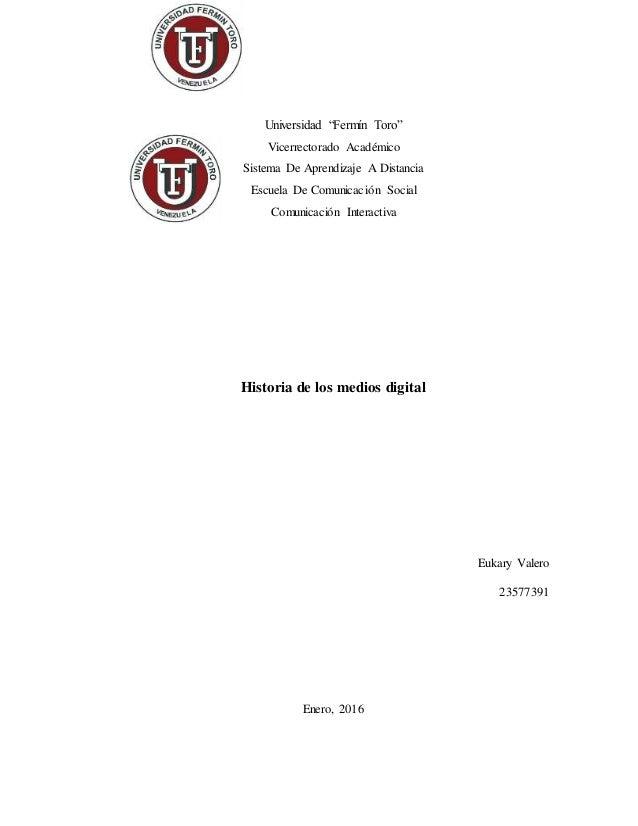 "Universidad ""Fermín Toro"" Vicerrectorado Académico Sistema De Aprendizaje A Distancia Escuela De Comunicación Social Comun..."