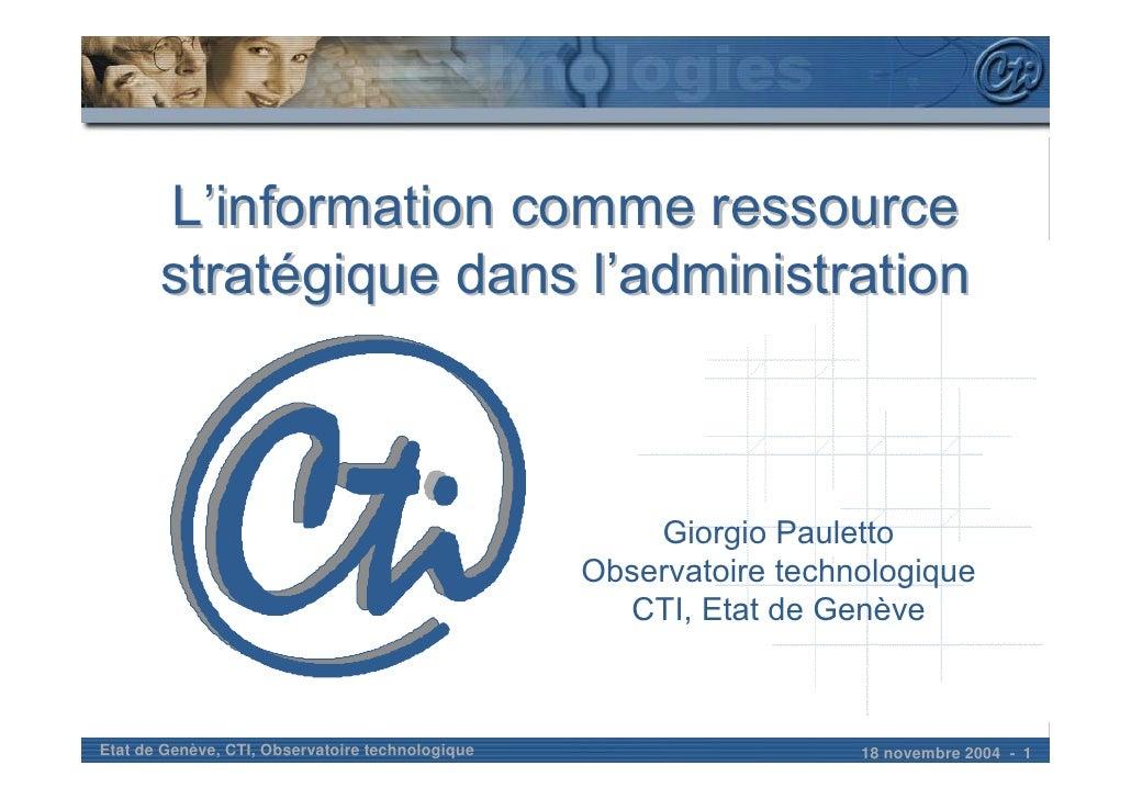 L'information comme ressource        stratégique dans l'administration                                                    ...