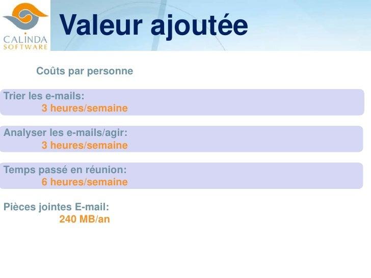 Valeur ajoutée<br />Coûts par personne<br />Trier les e-mails: <br />3 heures/semaine<br />Analyser les e-mails/agir: <br ...