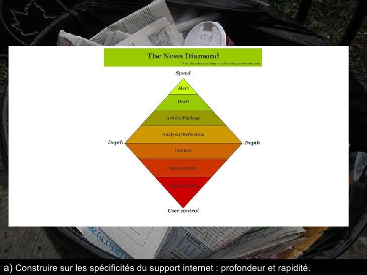 a)   Construire sur les spécificités du support internet : profondeur et rapidité.
