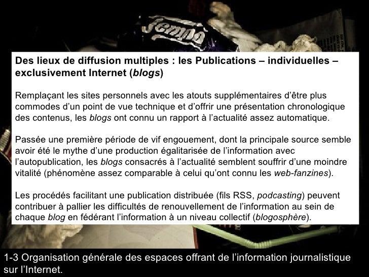 Des lieux de diffusion multiples : les Publications – individuelles – exclusivement Internet ( blogs ) Remplaçant les site...