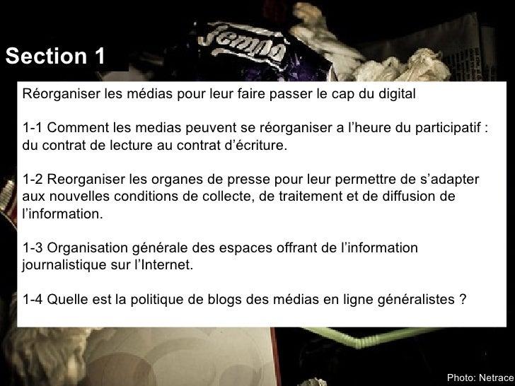 Section 1 Réorganiser les médias pour leur faire passer le cap du digital 1-1 Comment les medias peuvent se réorganiser a ...