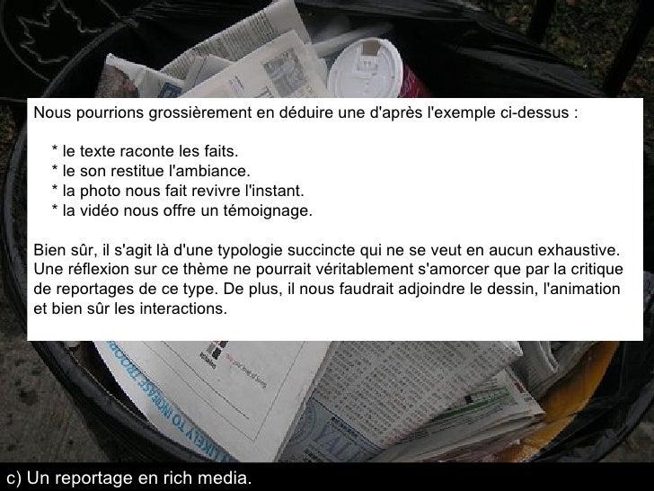 Nous pourrions grossièrement en déduire une d'après l'exemple ci-dessus : * le texte raconte les faits. * le son restitue ...