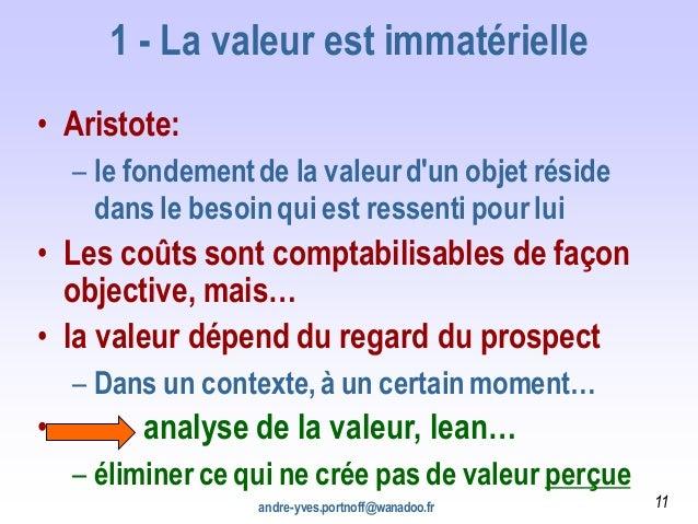 1 - La valeur est immatérielle • Aristote: – le fondementde la valeurd'un objet réside dans le besoinqui est ressenti pour...