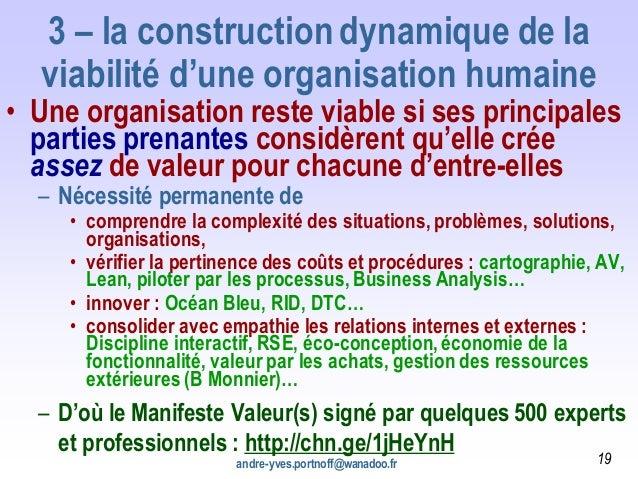 3 – la construction dynamique de la viabilité d'une organisation humaine • Une organisation reste viable si ses principale...
