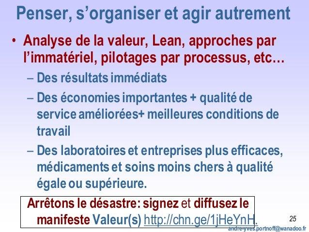 Penser, s'organiser et agir autrement • Analyse de la valeur, Lean, approches par l'immatériel, pilotages par processus, e...