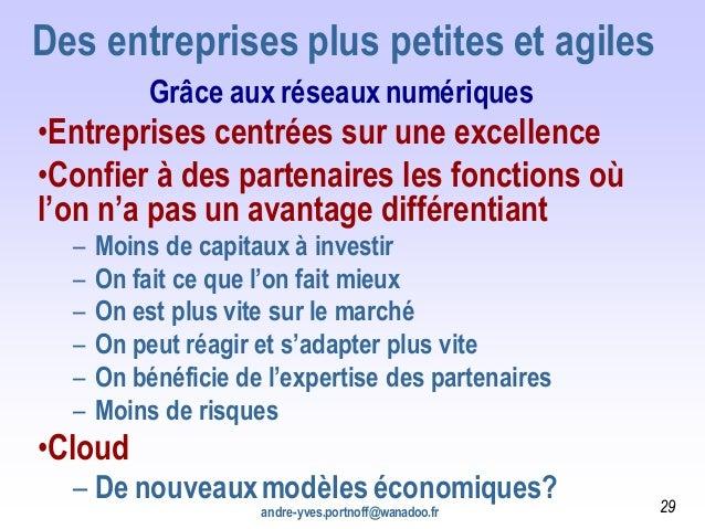 andre-yves.portnoff@wanadoo.fr Des entreprises plus petites et agiles Grâce aux réseauxnumériques •Entreprises centrées su...