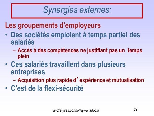 andre-yves.portnoff@wanadoo.fr 32 Synergies externes: Les groupements d'employeurs • Des sociétés emploient à temps partie...