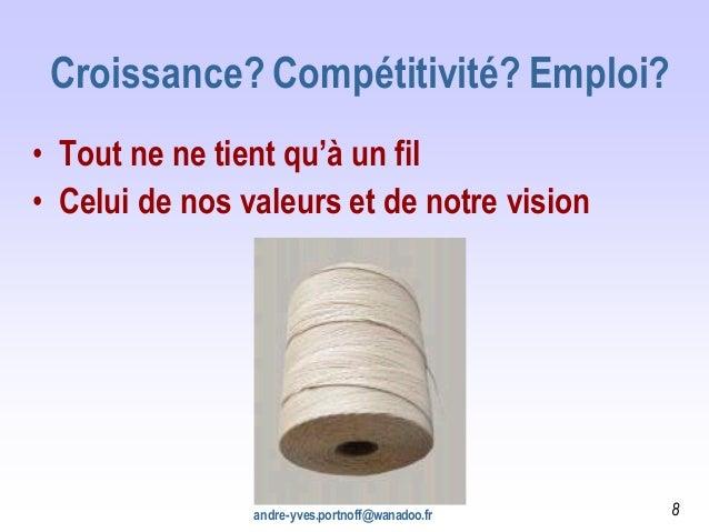 Croissance? Compétitivité? Emploi? • Tout ne ne tient qu'à un fil • Celui de nos valeurs et de notre vision andre-yves.por...