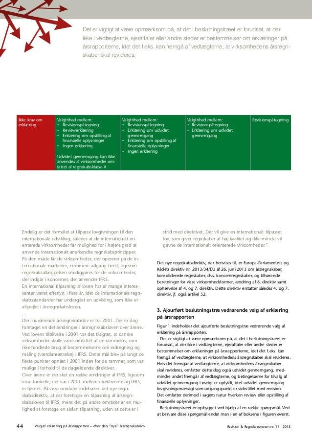"""44 Revision & Regnskabsvæsen nr. 11 · 2015Valg af erklæring på årsrapporten – efter den """"nye"""" årsregnskabslov strid med di..."""