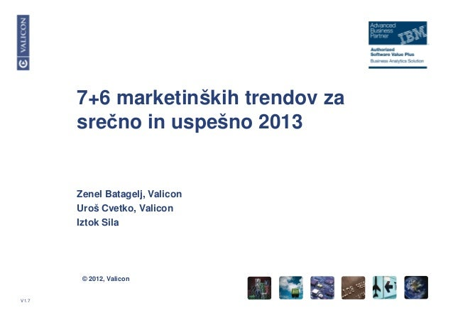 © 2012, ValiconV1.77+6 marketinških trendov zasrečno in uspešno 2013Zenel Batagelj, ValiconUroš Cvetko, ValiconIztok Sila