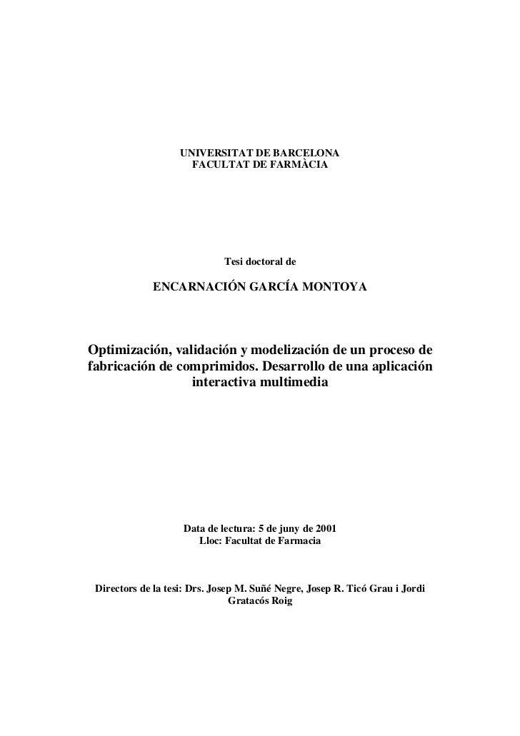 UNIVERSITAT DE BARCELONA                      FACULTAT DE FARMÀCIA                             Tesi doctoral de           ...