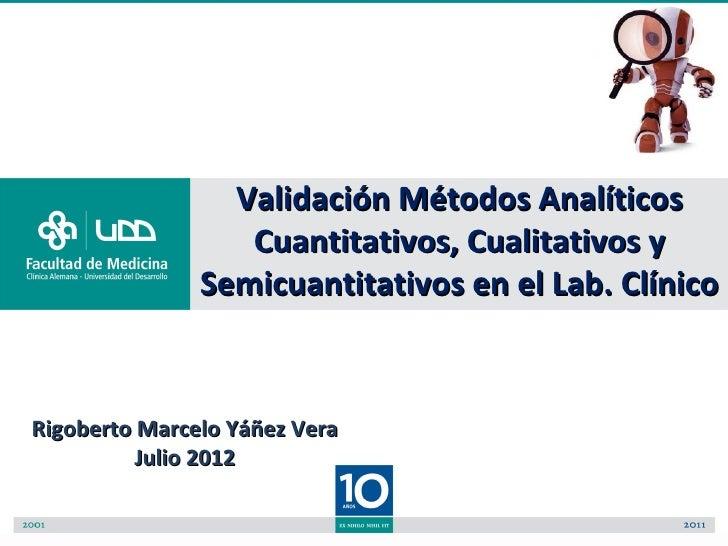 Validación Métodos Analíticos                  Cuantitativos, Cualitativos y               Semicuantitativos en el Lab. Cl...