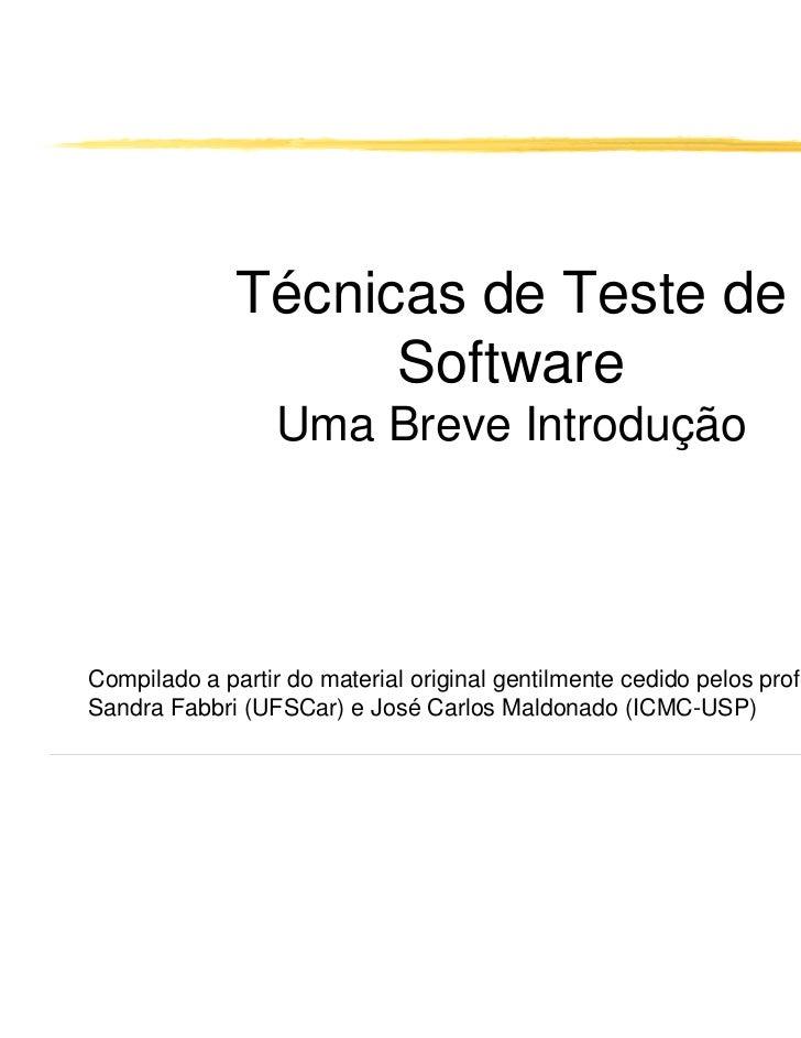 Técnicas de Teste de                    Software                 Uma Breve IntroduçãoCompilado a partir do material origin...