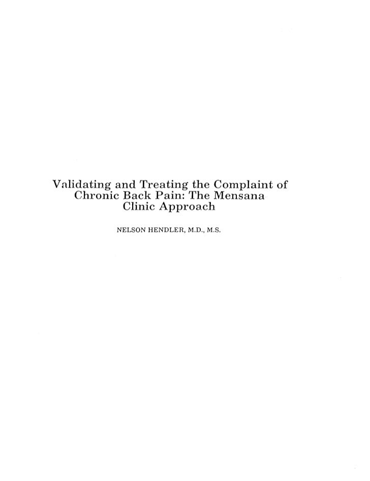 Validating the Complaint of Pain