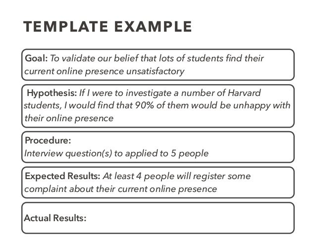TEMPLATE EXAMPLE Goal: To validate our belief that lots of students find their current online presence unsatisfactory Hypot...