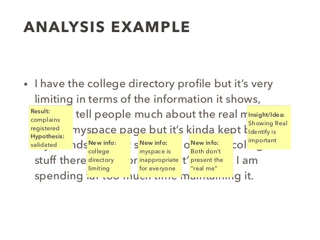 ANALYSIS EXAMPLE • I have the college directory profile but it's very limiting in terms of the information it shows, doesn'...