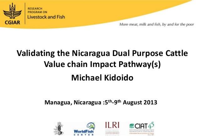 Validating the Nicaragua Dual Purpose Cattle Value chain Impact Pathway(s) Michael Kidoido Managua, Nicaragua :5th-9th Aug...