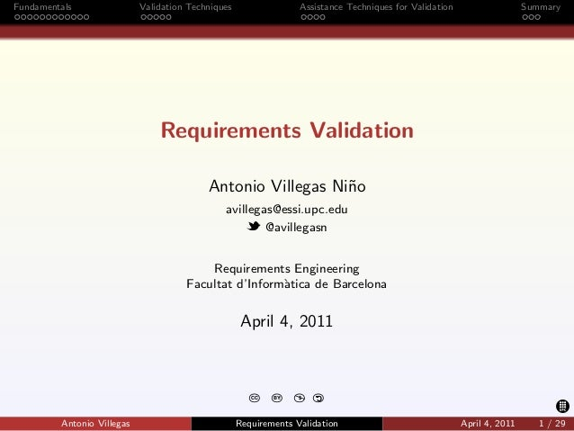 Fundamentals                Validation Techniques                 Assistance Techniques for Validation                   S...