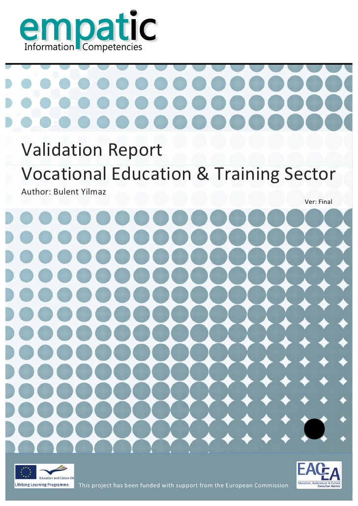 report on vocational training Sample format for vocational testing report search by: for : see also all l&i forms/pubs  file a quarterly report find safety training materials.