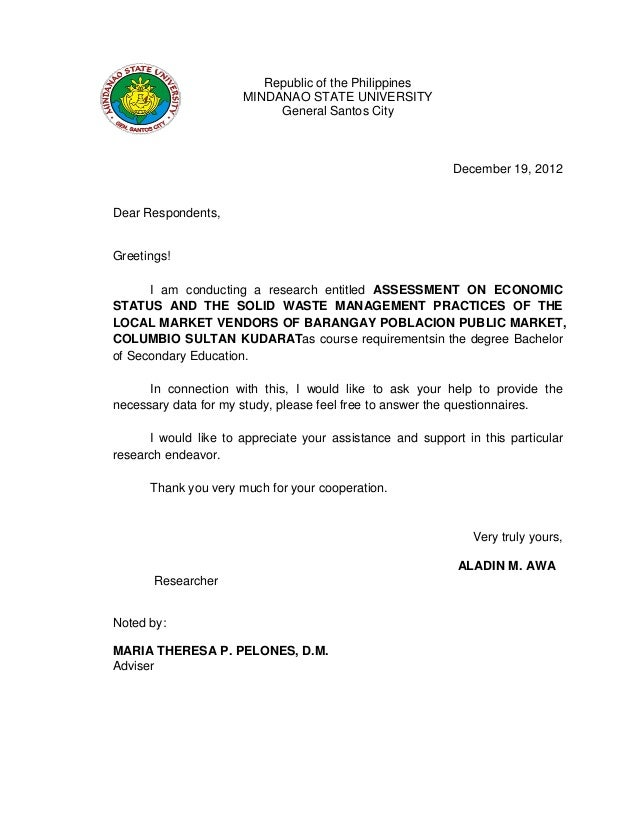 Validation letter for thesis republic of the philippinesmindanao state universitygeneral santos citydecember 19 2012dear respondentsgreetings altavistaventures Gallery