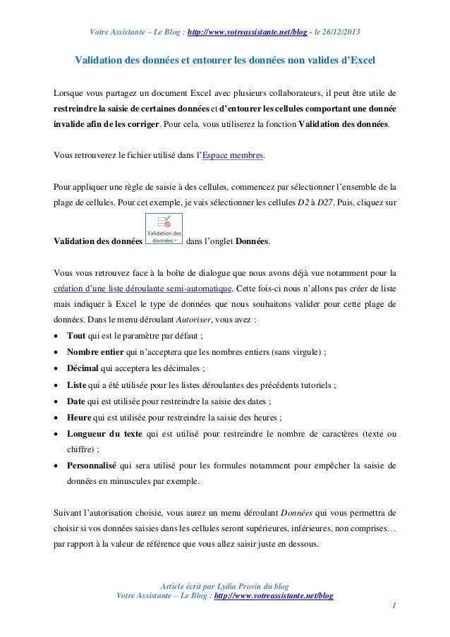 Votre Assistante – Le Blog : http://www.votreassistante.net/blog - le 26/12/2013  Validation des données et entourer les d...