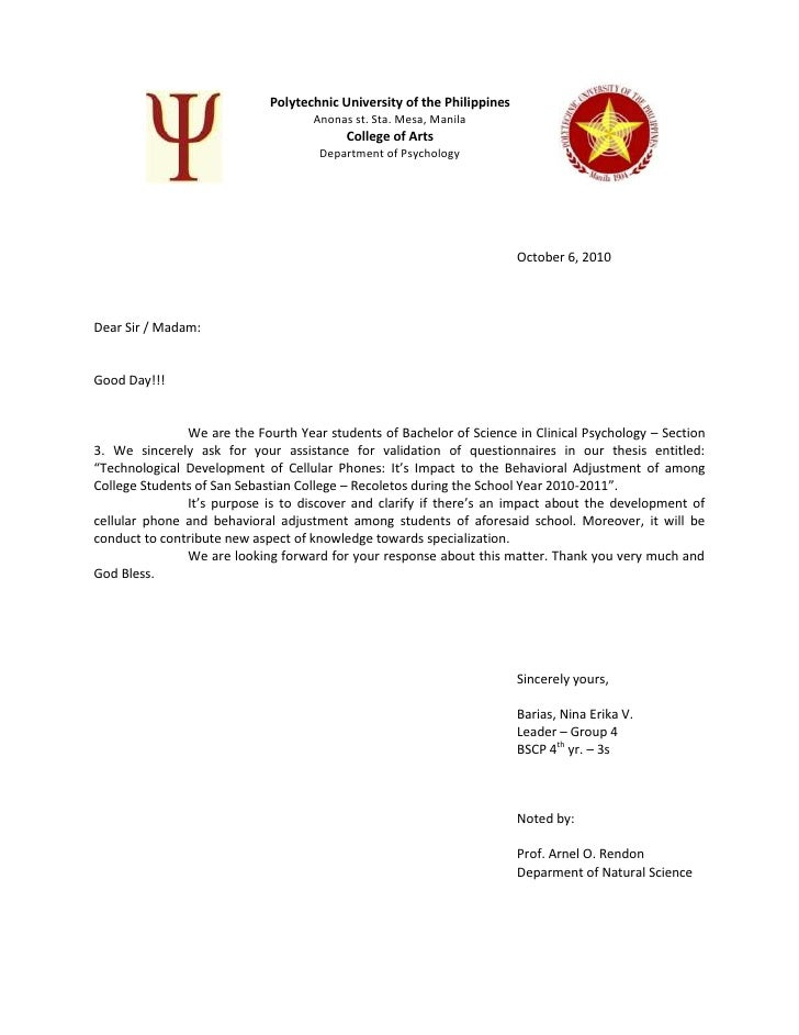 Letter for thesis proposal