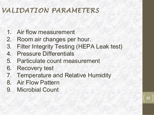Air Changes Per Hour : Validation of hvac