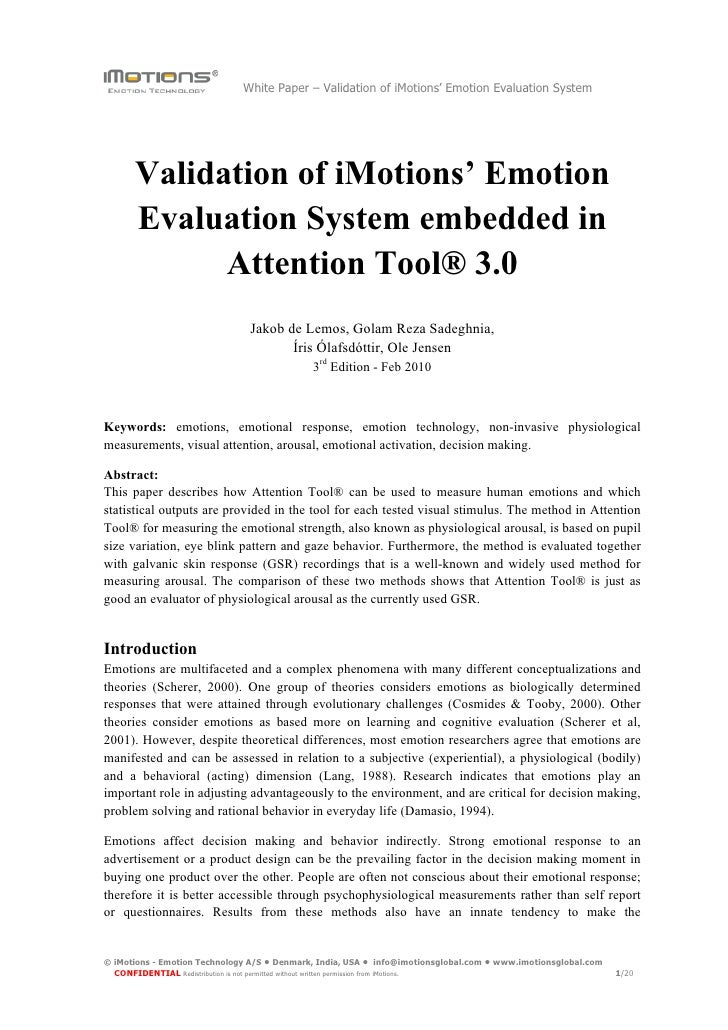 White Paper – Validation of iMotions' Emotion Evaluation System           Validation of iMotions' Emotion       Evaluation...